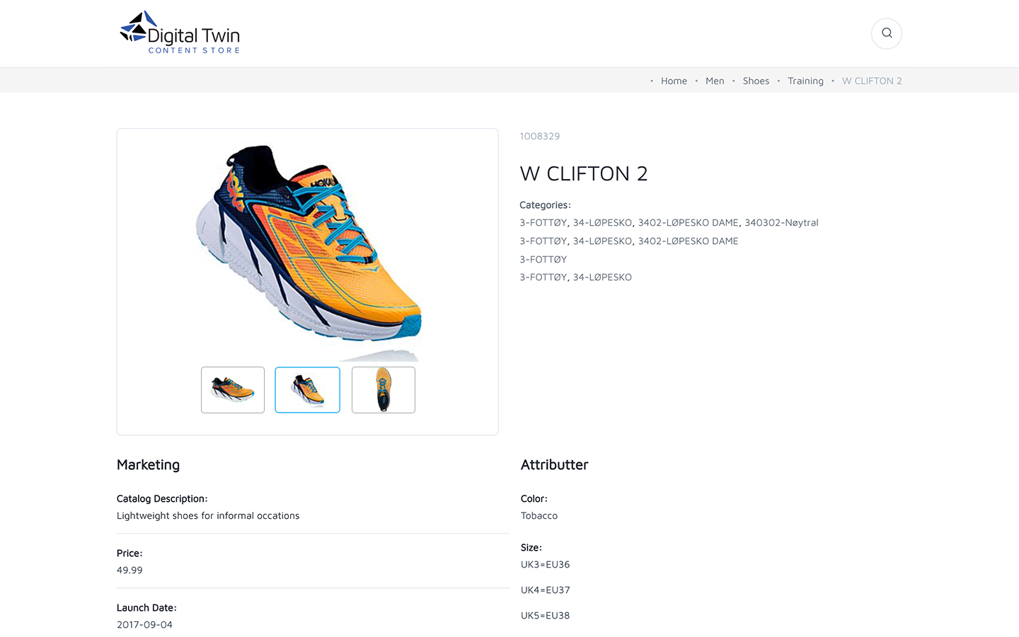 Product page in content store