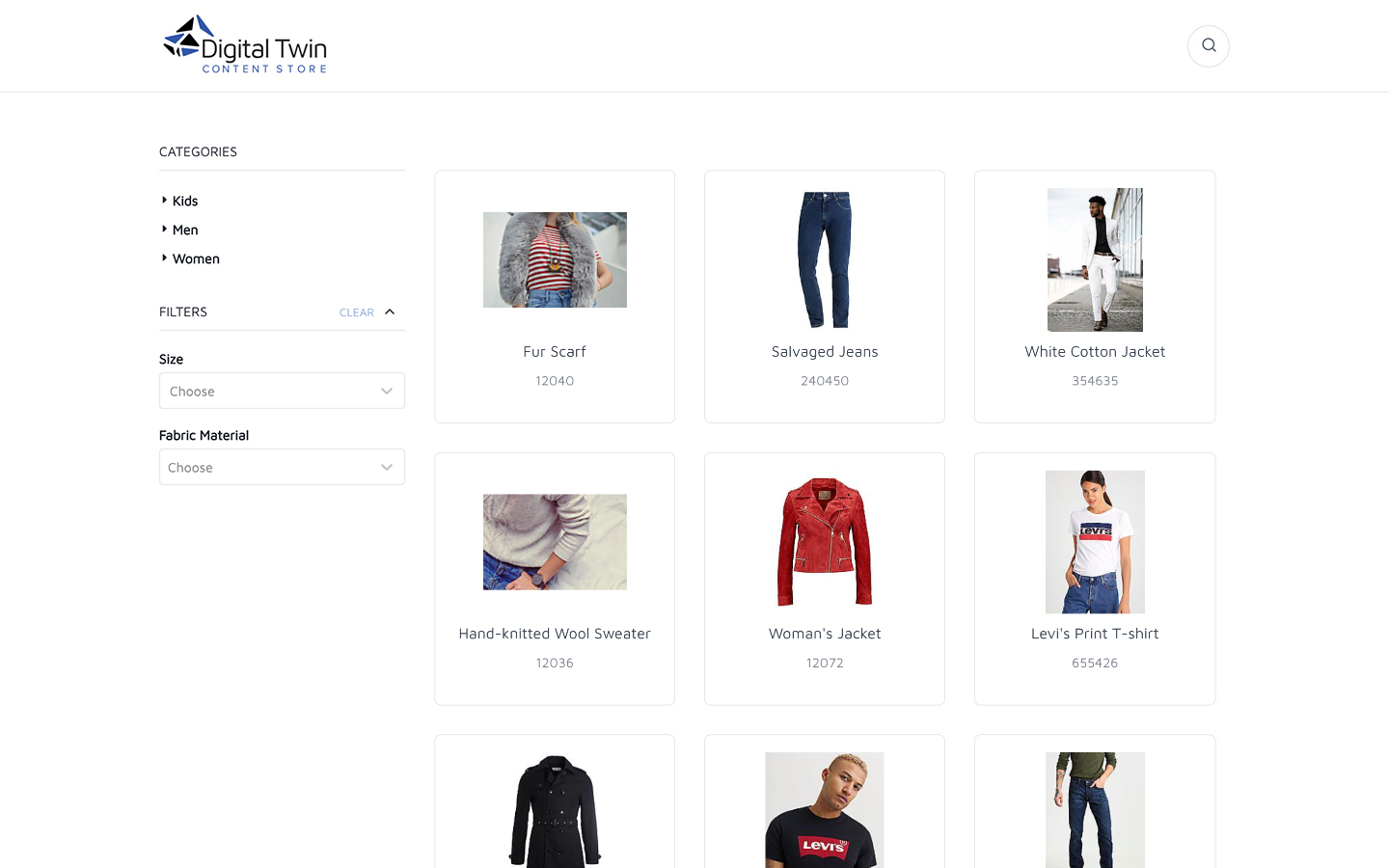 Homepage of the content store